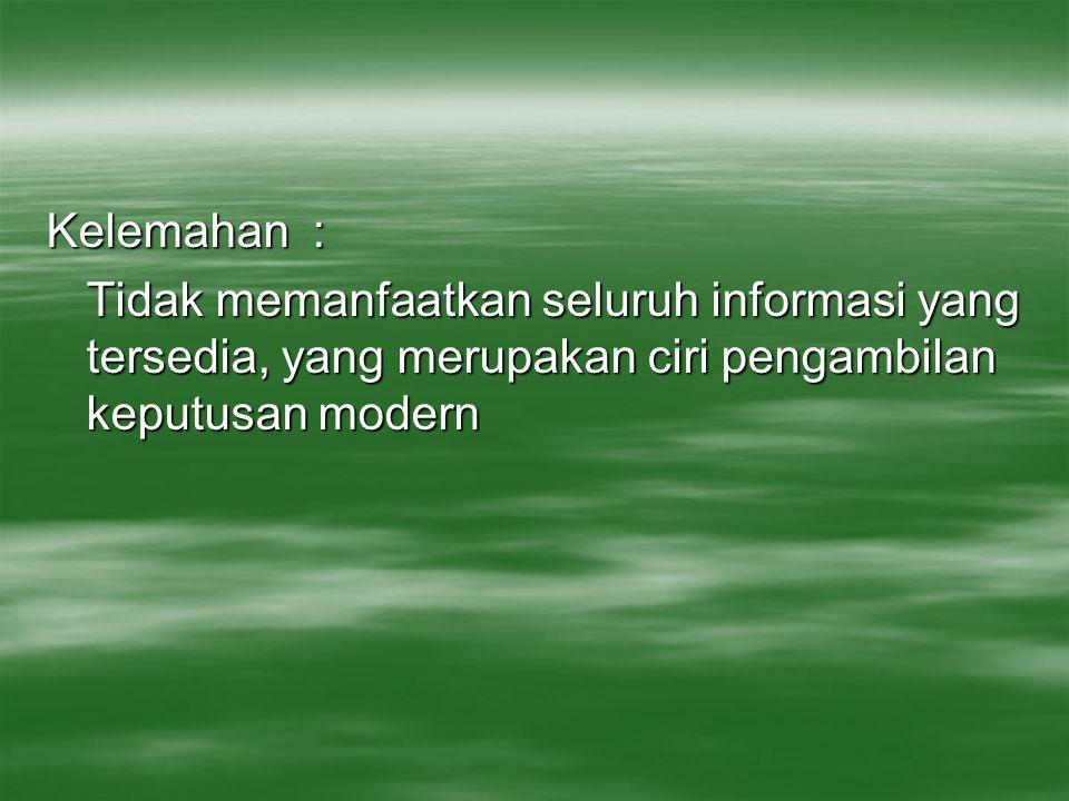 Kelemahan : Tidak memanfaatkan seluruh informasi yang tersedia, yang merupakan ciri pengambilan keputusan modern