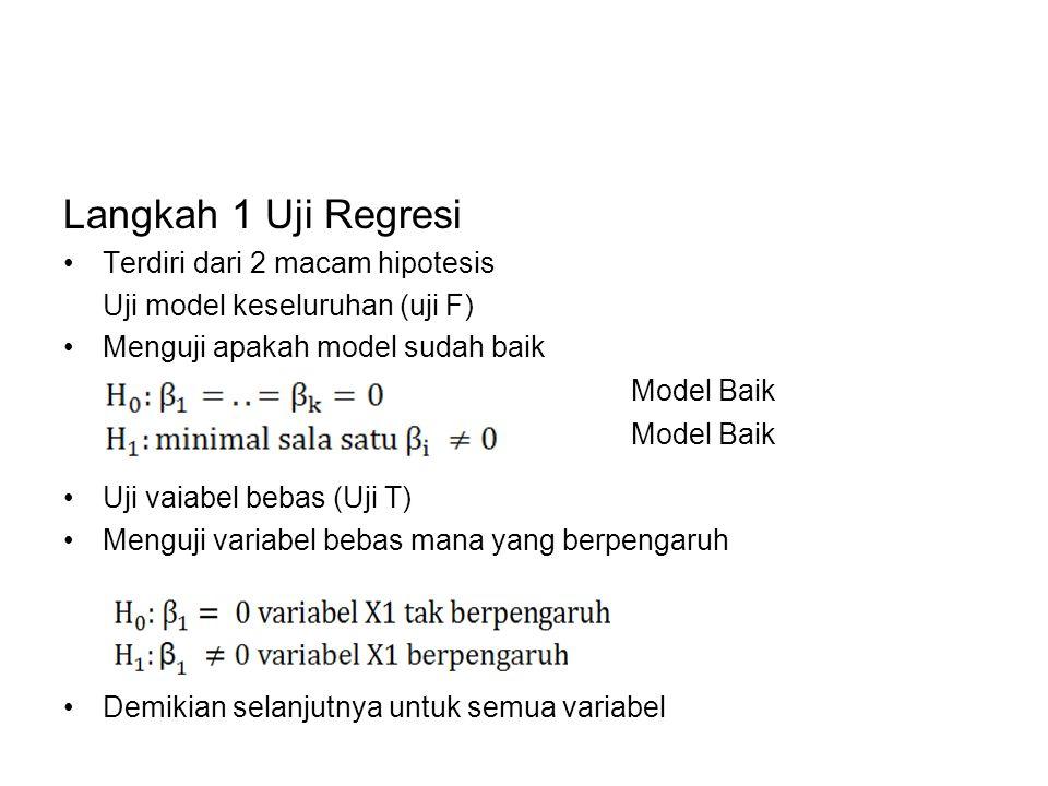 Langkah 1 Uji Regresi Terdiri dari 2 macam hipotesis Uji model keseluruhan (uji F) Menguji apakah model sudah baik Uji vaiabel bebas (Uji T) Menguji v