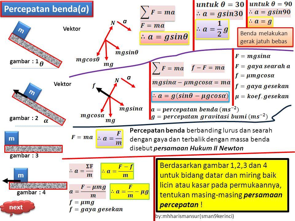Percepatan benda(a) m m m m m m a a m m gambar : 4 gambar : 3 gambar : 2 gambar : 1 Vektor Benda melakukan gerak jatuh bebas Vektor Percepatan benda b