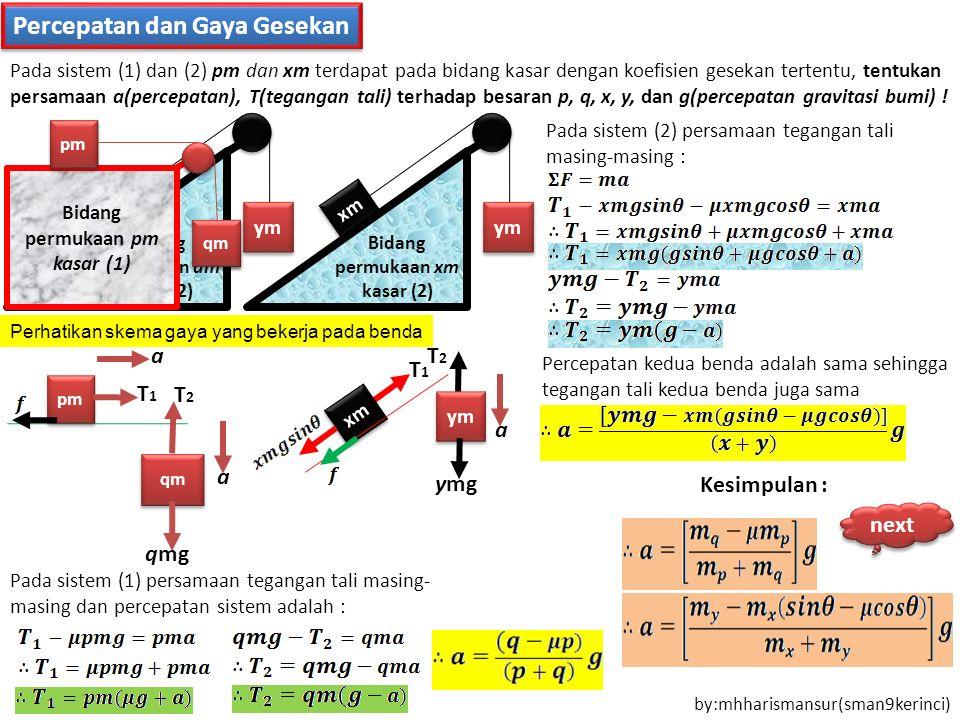 Percepatan dan Gaya Gesekan Bidang permukaan pm kasar (1) pm qm Pada sistem (1) dan (2) pm dan xm terdapat pada bidang kasar dengan koefisien gesekan