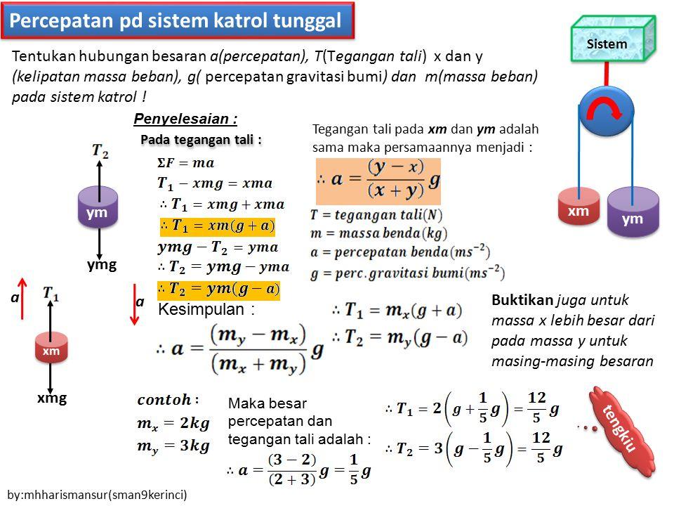Percepatan pd sistem katrol tunggal xm xmg ym ymg a a Penyelesaian : Pada tegangan tali : Tentukan hubungan besaran a(percepatan), T(Tegangan tali) x
