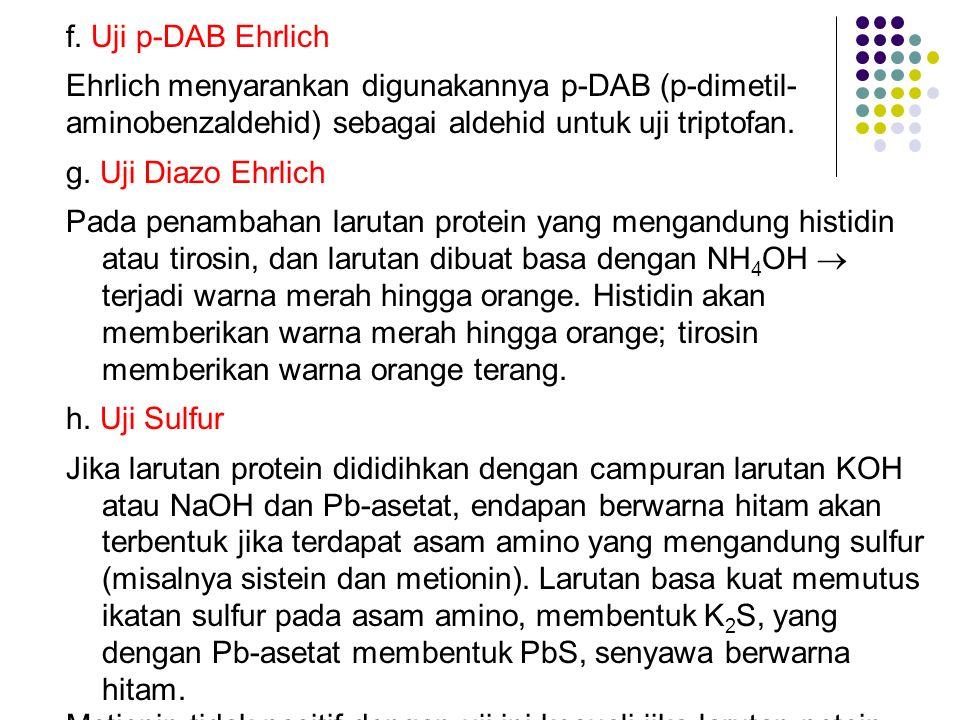 f. Uji p-DAB Ehrlich Ehrlich menyarankan digunakannya p-DAB (p-dimetil- aminobenzaldehid) sebagai aldehid untuk uji triptofan. g. Uji Diazo Ehrlich Pa