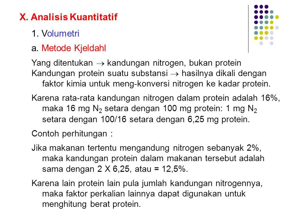 X. Analisis Kuantitatif 1. Volumetri a. Metode Kjeldahl Yang ditentukan  kandungan nitrogen, bukan protein Kandungan protein suatu substansi  hasiln