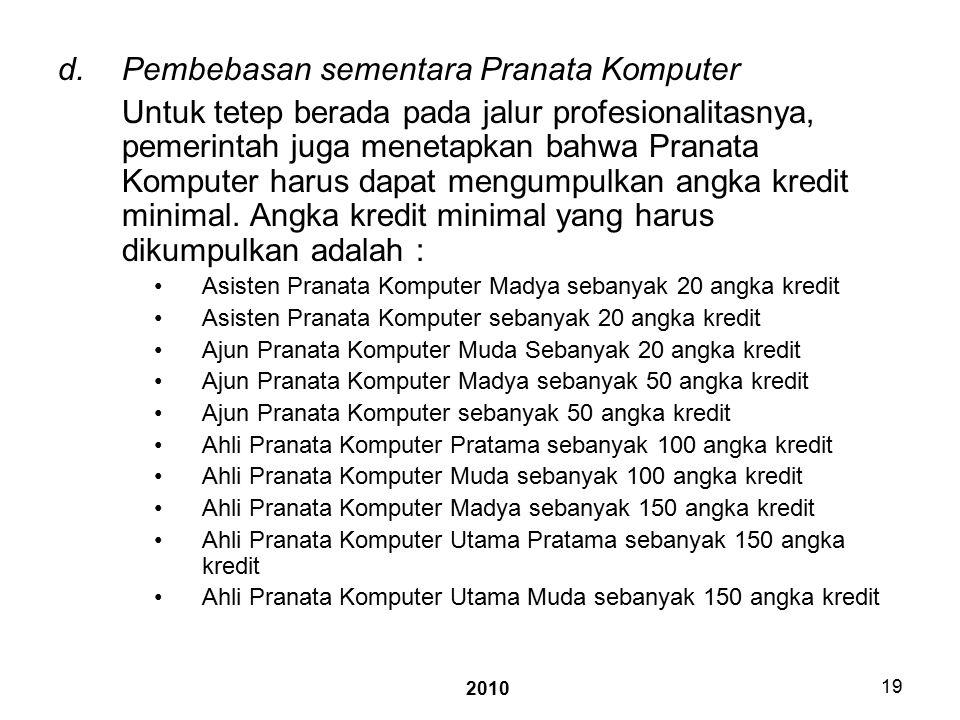 2010 19 d.Pembebasan sementara Pranata Komputer Untuk tetep berada pada jalur profesionalitasnya, pemerintah juga menetapkan bahwa Pranata Komputer harus dapat mengumpulkan angka kredit minimal.