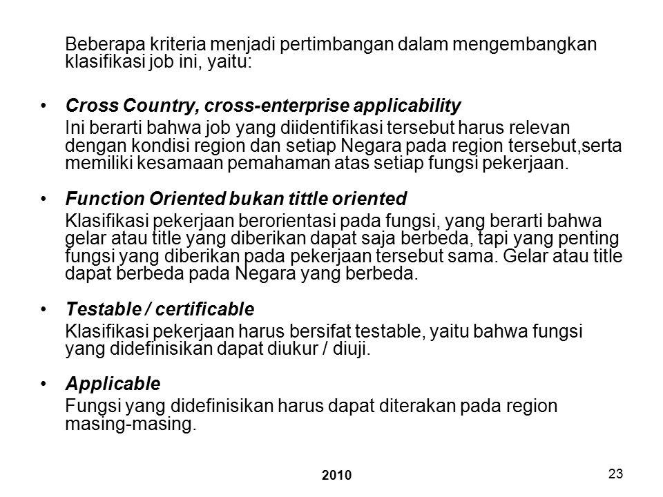 2010 23 Beberapa kriteria menjadi pertimbangan dalam mengembangkan klasifikasi job ini, yaitu: Cross Country, cross-enterprise applicability Ini berarti bahwa job yang diidentifikasi tersebut harus relevan dengan kondisi region dan setiap Negara pada region tersebut,serta memiliki kesamaan pemahaman atas setiap fungsi pekerjaan.