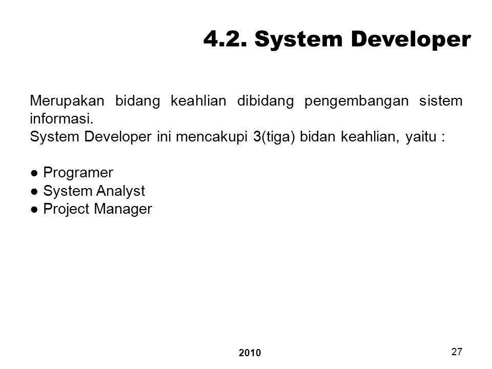 2010 27 4.2. System Developer Merupakan bidang keahlian dibidang pengembangan sistem informasi.