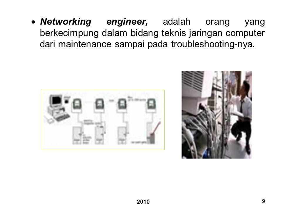 2010 9  Networking engineer, adalah orang yang berkecimpung dalam bidang teknis jaringan computer dari maintenance sampai pada troubleshooting-nya.