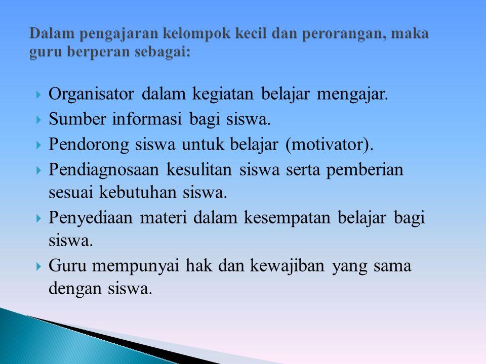  O rganisator dalam kegiatan belajar mengajar.  Sumber informasi bagi siswa.  Pendorong siswa untuk belajar (motivator).  Pendiagnosaan kesulitan