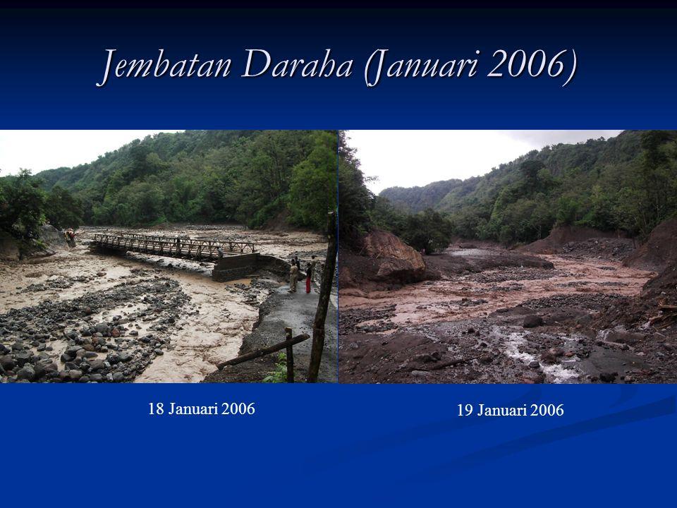 Kerusakan terhadap – Bangunan sungai 7 Mei 2005 24 Juni 2004 Sebelum runtuh 17 April 2005 Jembatan Daraha Jembatan Daraha hanyut oleh aliran debris pa