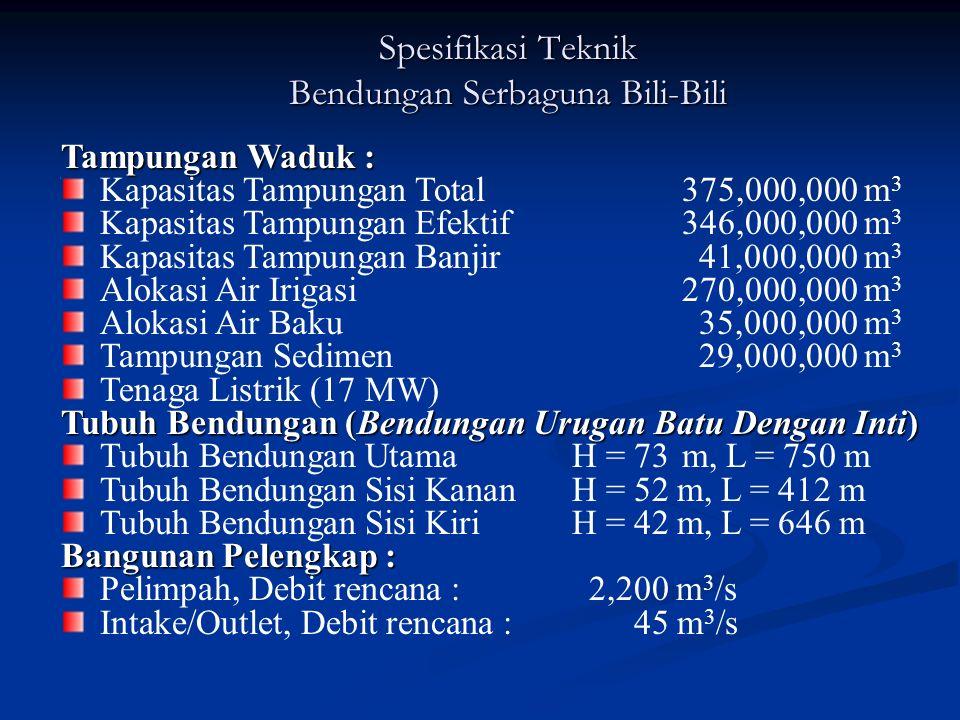 Bendungan Serbaguna Bili-Bili Empounding dimulai pada november 1997, dengan perkiraan umur waduk 50 tahun dengan daya tampung sedimen 29.000.000,00 m3