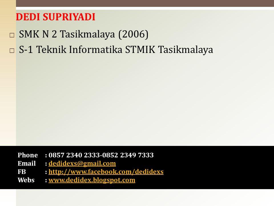  SMK N 2 Tasikmalaya (2006)  S-1 Teknik Informatika STMIK Tasikmalaya Phone : 0857 2340 2333-0852 2349 7333 Email : dedidexs@gmail.comdedidexs@gmail.com FB: http://www.facebook.com/dedidexshttp://www.facebook.com/dedidexs Webs : www.dedidex.blogspot.comwww.dedidex.blogspot.com DEDI SUPRIYADI