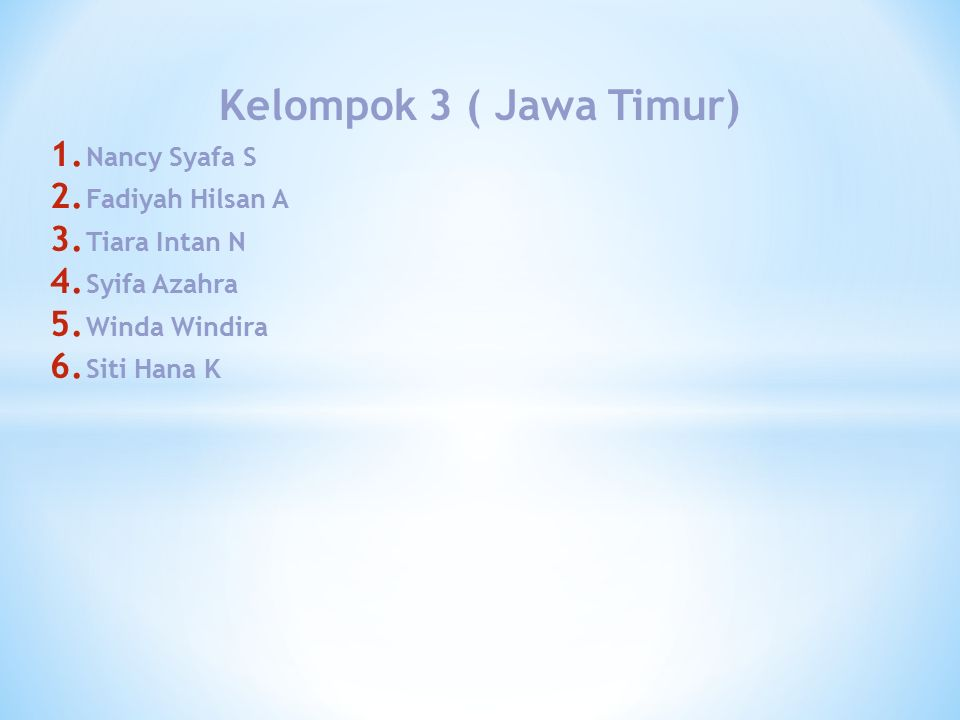Kelompok 3 ( Jawa Timur) 1. Nancy Syafa S 2. Fadiyah Hilsan A 3.
