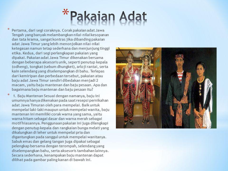 * Pertama, dari segi coraknya. Corak pakaian adat Jawa Tengah yang banyak melambangkan nilai-nilai kesopanan dan tata krama, sangat kontras jika diban
