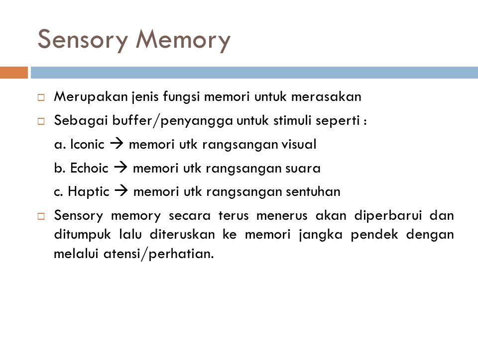Sensory Memory  Merupakan jenis fungsi memori untuk merasakan  Sebagai buffer/penyangga untuk stimuli seperti : a.