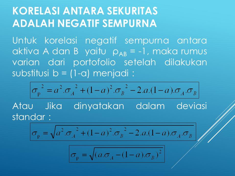KORELASI ANTARA SEKURITAS ADALAH NEGATIF SEMPURNA Untuk korelasi negatif sempurna antara aktiva A dan B yaitu ρ AB = -1, maka rumus varian dari portof