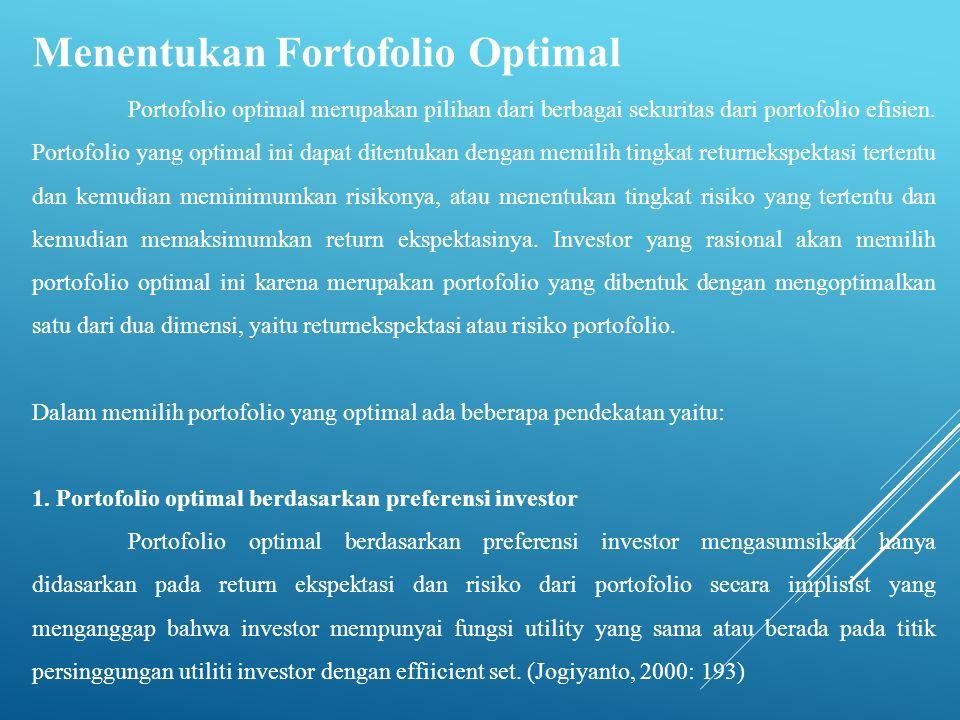Menentukan Fortofolio Optimal Portofolio optimal merupakan pilihan dari berbagai sekuritas dari portofolio efisien. Portofolio yang optimal ini dapat