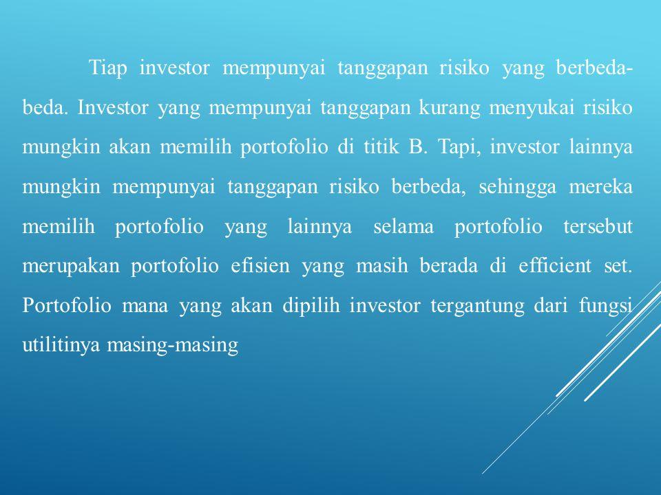 Tiap investor mempunyai tanggapan risiko yang berbeda- beda. Investor yang mempunyai tanggapan kurang menyukai risiko mungkin akan memilih portofolio