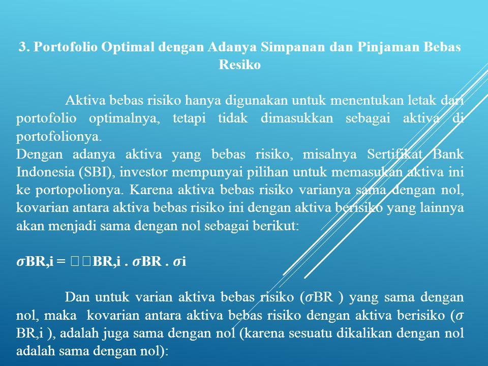 3. Portofolio Optimal dengan Adanya Simpanan dan Pinjaman Bebas Resiko Aktiva bebas risiko hanya digunakan untuk menentukan letak dari portofolio opti