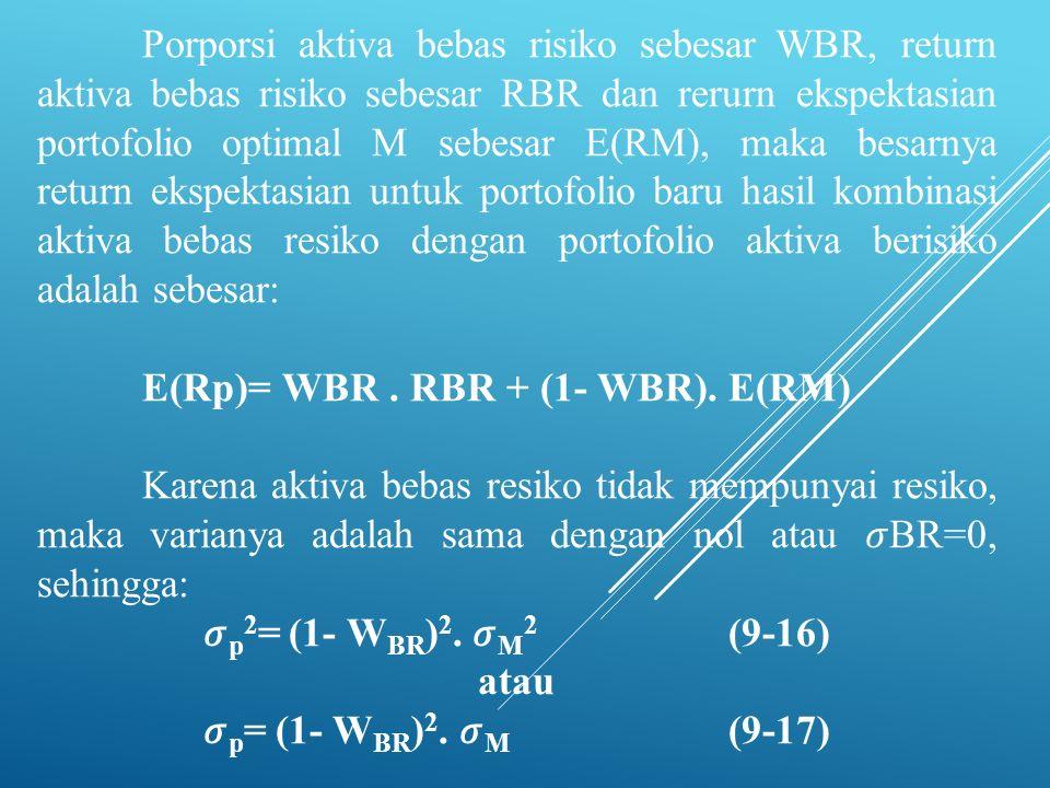 Porporsi aktiva bebas risiko sebesar WBR, return aktiva bebas risiko sebesar RBR dan rerurn ekspektasian portofolio optimal M sebesar E(RM), maka besa