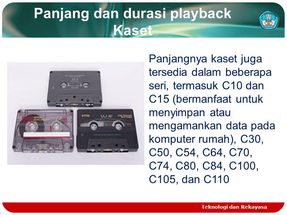 Panjang dan durasi playback Kaset Teknologi dan Rekayasa Panjangnya kaset juga tersedia dalam beberapa seri, termasuk C10 dan C15 (bermanfaat untuk menyimpan atau mengamankan data pada komputer rumah), C30, C50, C54, C64, C70, C74, C80, C84, C100, C105, dan C110