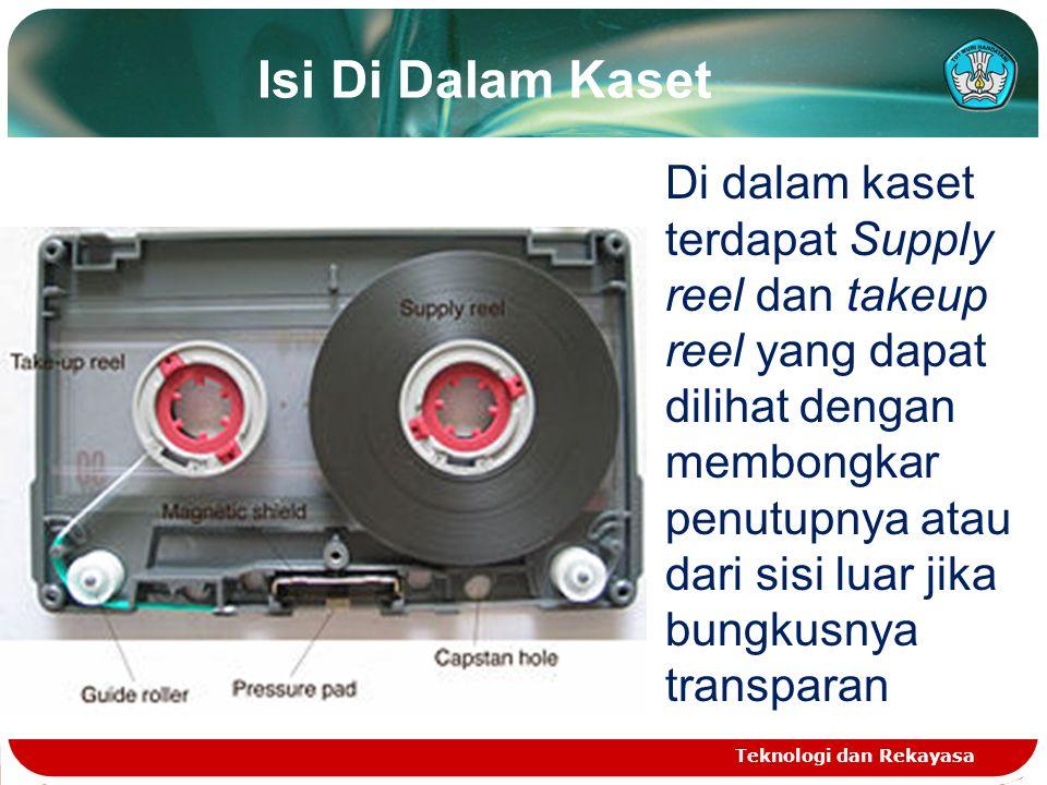Isi Di Dalam Kaset Teknologi dan Rekayasa Di dalam kaset terdapat Supply reel dan takeup reel yang dapat dilihat dengan membongkar penutupnya atau dari sisi luar jika bungkusnya transparan