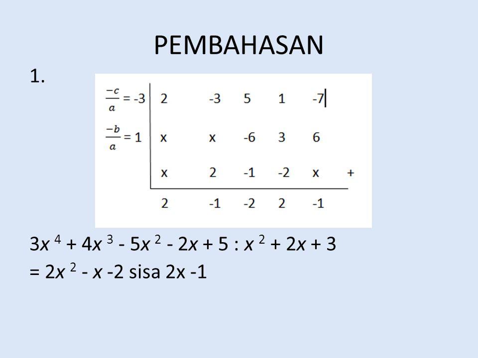 PEMBAHASAN 1. 3x 4 + 4x 3 - 5x 2 - 2x + 5 : x 2 + 2x + 3 = 2x 2 - x -2 sisa 2x -1