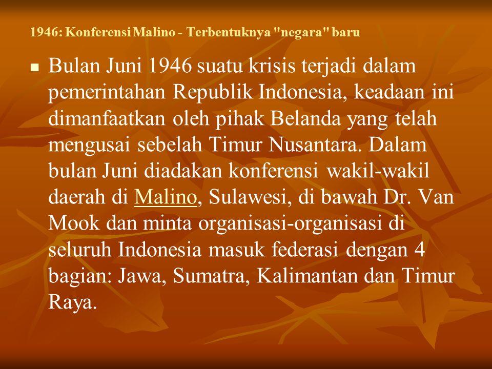 1946: Konferensi Malino - Terbentuknya negara baru Bulan Juni 1946 suatu krisis terjadi dalam pemerintahan Republik Indonesia, keadaan ini dimanfaatkan oleh pihak Belanda yang telah mengusai sebelah Timur Nusantara.