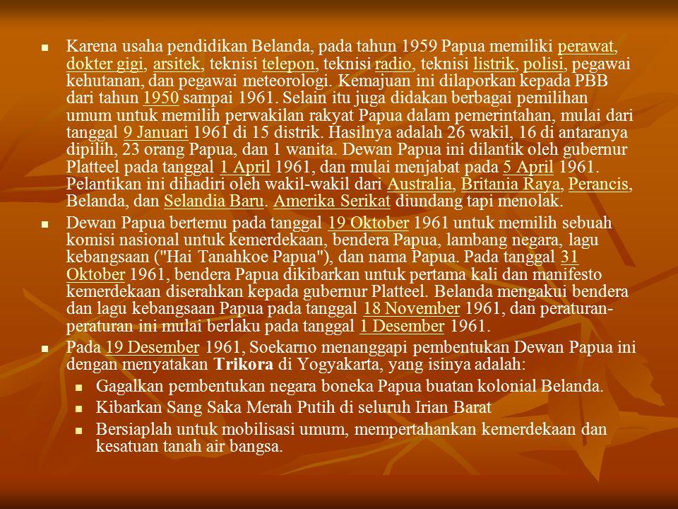 Karena usaha pendidikan Belanda, pada tahun 1959 Papua memiliki perawat, dokter gigi, arsitek, teknisi telepon, teknisi radio, teknisi listrik, polisi, pegawai kehutanan, dan pegawai meteorologi.