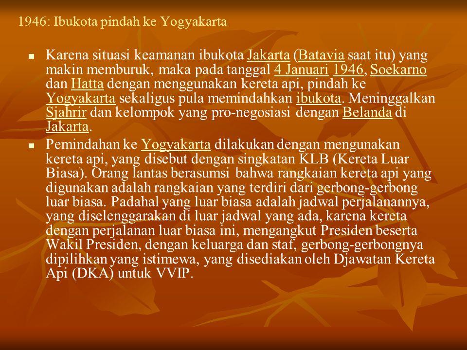 1946: Perubahan sistem pemerintahan Pernyataan van Mook untuk tidak berunding dengan Soekarno adalah salah satu faktor yang memicu perubahan sistem pemerintahan dari presidensiil menjadi parlementer.
