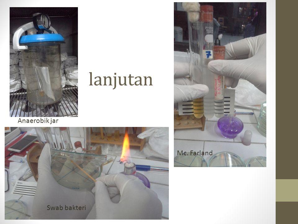 lanjutan Anaerobik jar Mc. Farland Swab bakteri