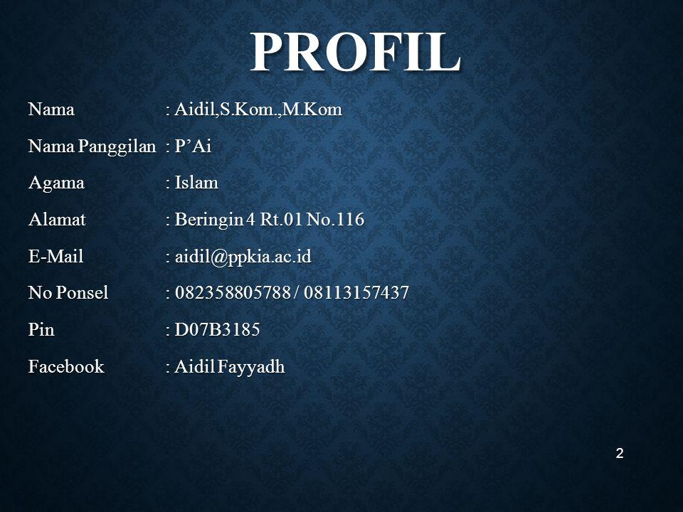 PROFIL PROFIL Nama: Aidil,S.Kom.,M.Kom Nama Panggilan: P'Ai Agama: Islam Alamat: Beringin 4 Rt.01 No.116 E-Mail: aidil@ppkia.ac.id No Ponsel : 082358805788 / 08113157437 Pin: D07B3185 Facebook: Aidil Fayyadh 2