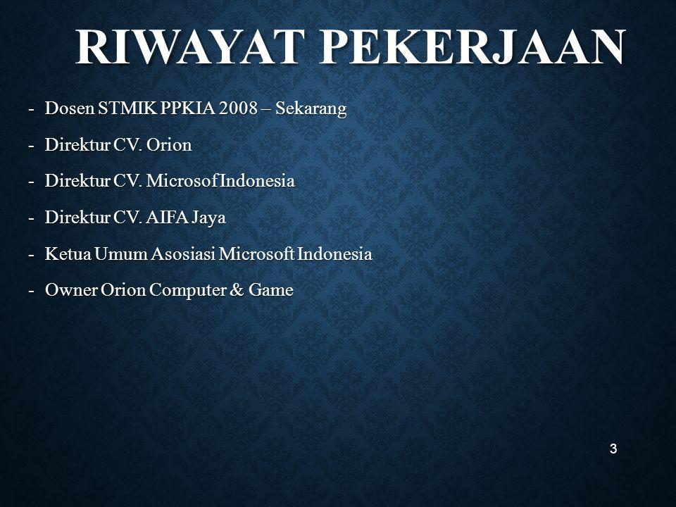RIWAYAT PEKERJAAN RIWAYAT PEKERJAAN -Dosen STMIK PPKIA 2008 – Sekarang -Direktur CV.