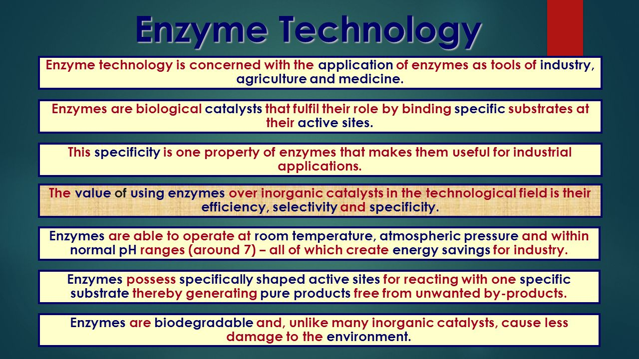 Enzyme technology is concerned with the application of enzymes as tools of industry, agriculture and medicine. Enzymes are biological catalysts that f