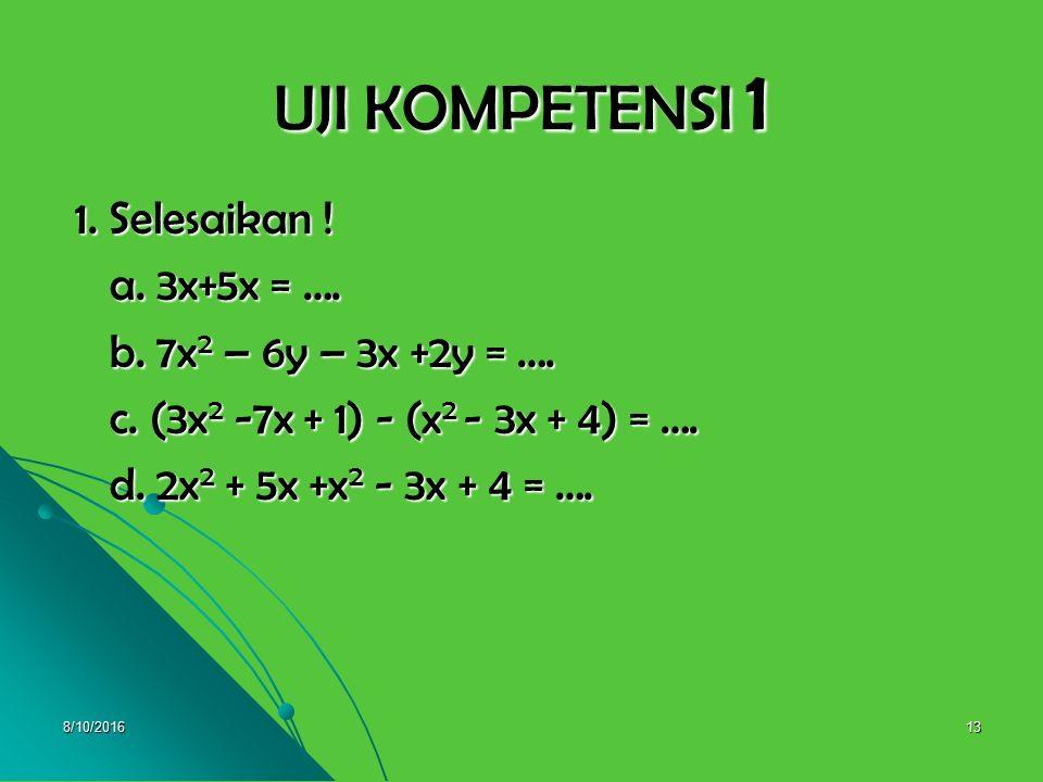 8/10/201612 d. Perkalian suku dalam bentuk (a+b)(a+b) dan d. Perkalian suku dalam bentuk (a+b)(a+b) dan (a – b)(a – b ) (a – b)(a – b ) Perhatikan : P