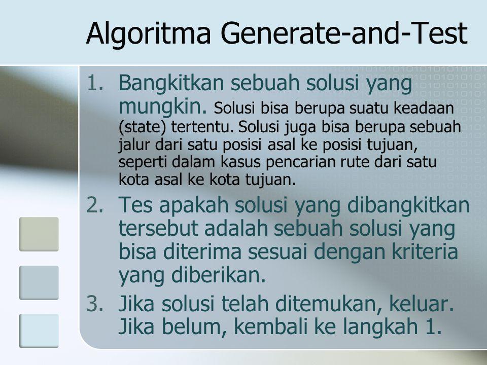 Algoritma Generate-and-Test 1.Bangkitkan sebuah solusi yang mungkin. Solusi bisa berupa suatu keadaan (state) tertentu. Solusi juga bisa berupa sebuah