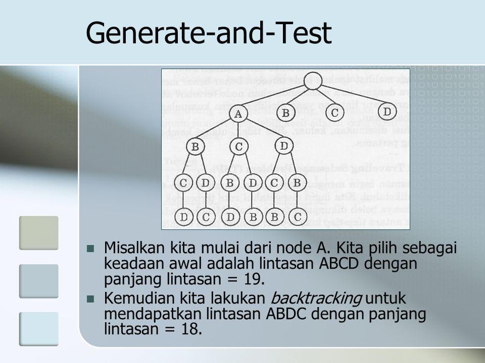Generate-and-Test Misalkan kita mulai dari node A. Kita pilih sebagai keadaan awal adalah lintasan ABCD dengan panjang lintasan = 19. Kemudian kita la