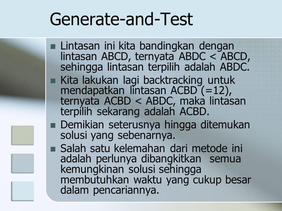 Generate-and-Test Lintasan ini kita bandingkan dengan lintasan ABCD, ternyata ABDC < ABCD, sehingga lintasan terpilih adalah ABDC. Kita lakukan lagi b