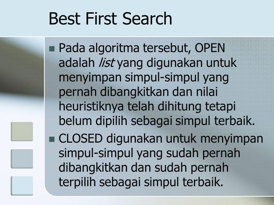 Best First Search Pada algoritma tersebut, OPEN adalah list yang digunakan untuk menyimpan simpul-simpul yang pernah dibangkitkan dan nilai heuristikn