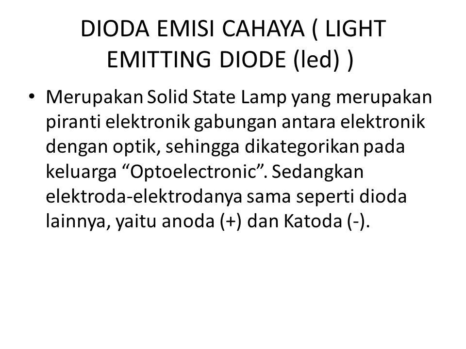 DIODA EMISI CAHAYA ( LIGHT EMITTING DIODE (led) ) Merupakan Solid State Lamp yang merupakan piranti elektronik gabungan antara elektronik dengan optik