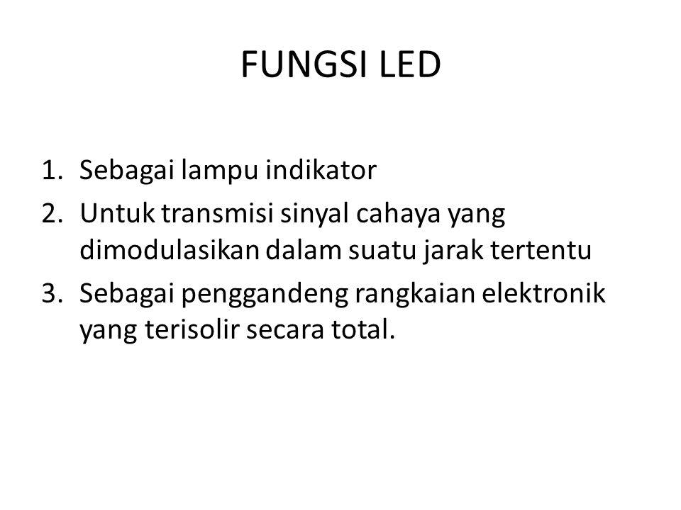 FUNGSI LED 1.Sebagai lampu indikator 2.Untuk transmisi sinyal cahaya yang dimodulasikan dalam suatu jarak tertentu 3.Sebagai penggandeng rangkaian ele