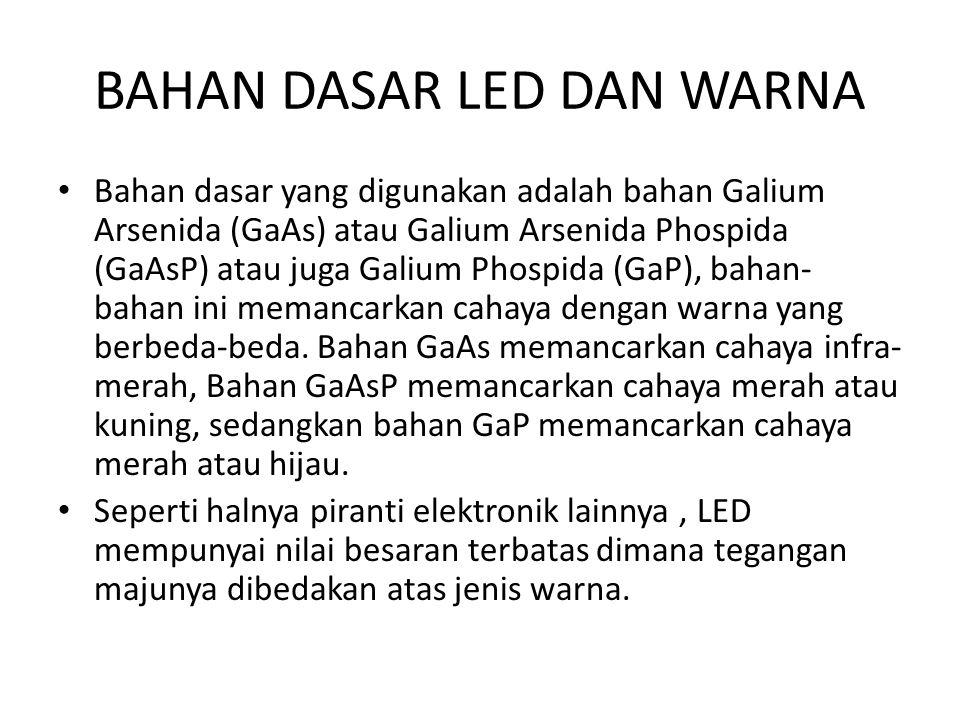 BAHAN DASAR LED DAN WARNA Bahan dasar yang digunakan adalah bahan Galium Arsenida (GaAs) atau Galium Arsenida Phospida (GaAsP) atau juga Galium Phospi