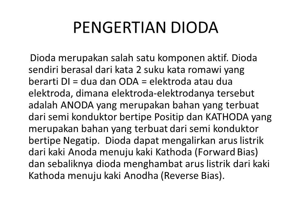 PENGERTIAN DIODA Dioda merupakan salah satu komponen aktif. Dioda sendiri berasal dari kata 2 suku kata romawi yang berarti DI = dua dan ODA = elektro