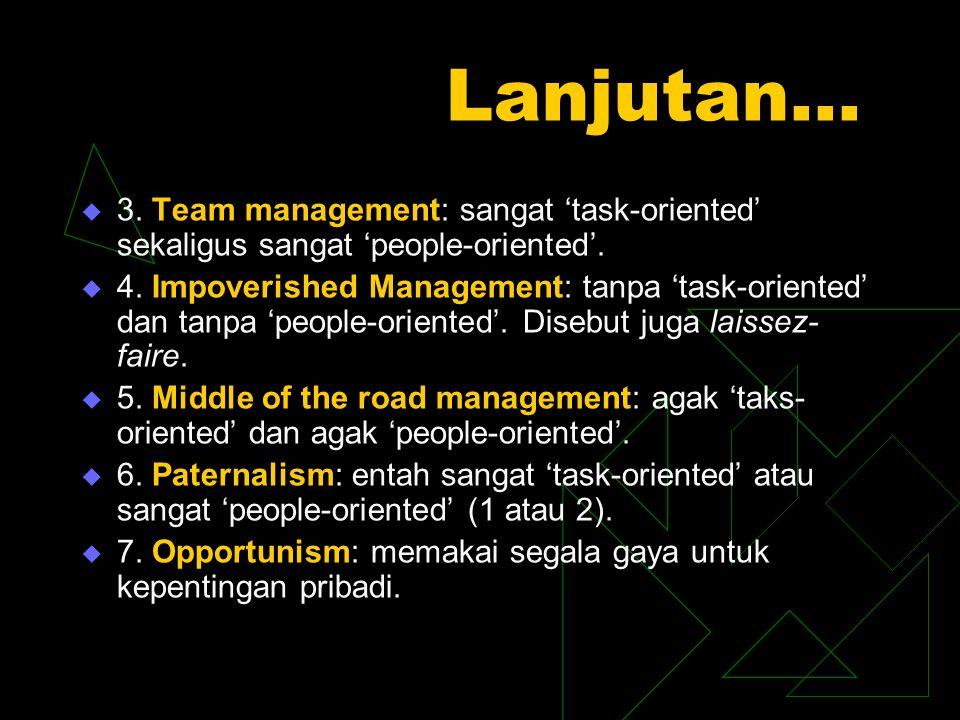 Lanjutan…  3.Team management: sangat 'task-oriented' sekaligus sangat 'people-oriented'.