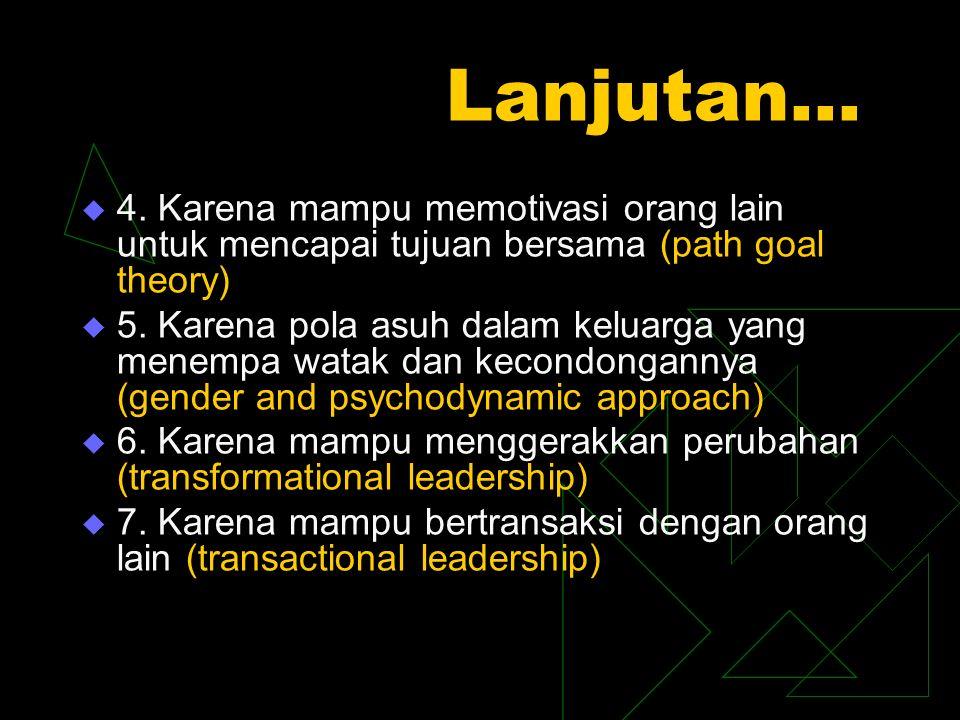 Pemimpin KarakterGaya Pengikut Situasi Tujuan Perubahan Jender Psikologi