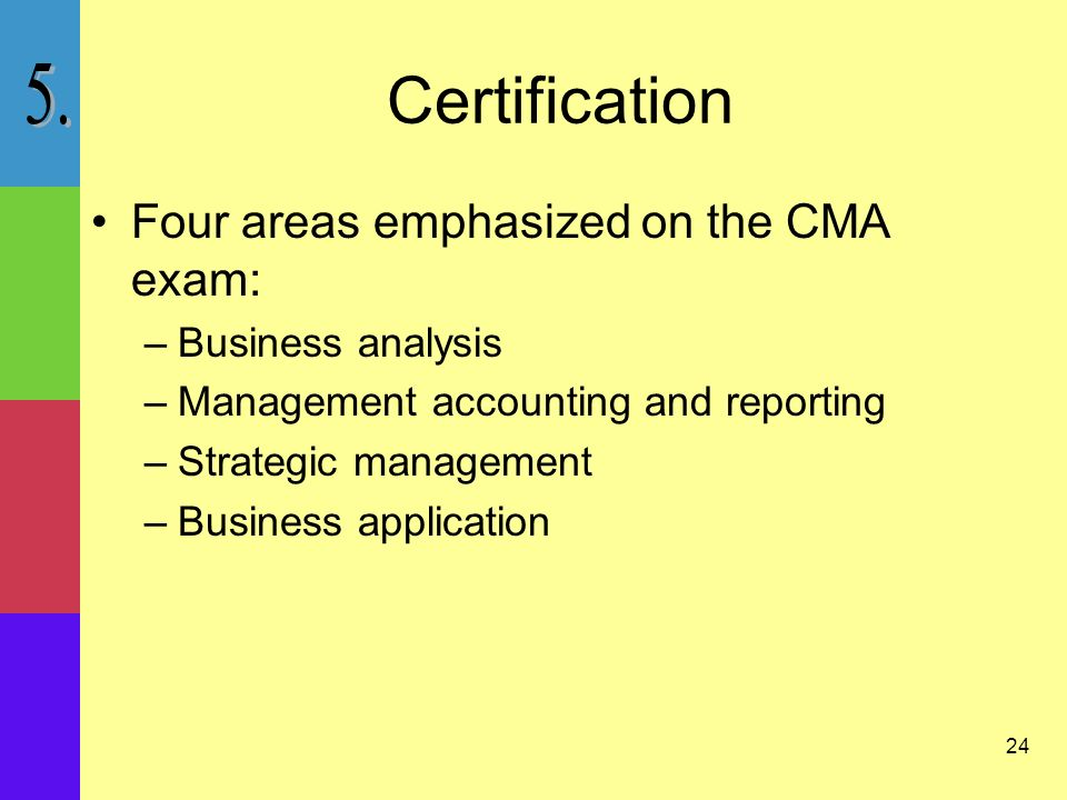 24 Certification Four areas emphasized on the CMA exam: –Business analysis –Management accounting and reporting –Strategic management –Business application