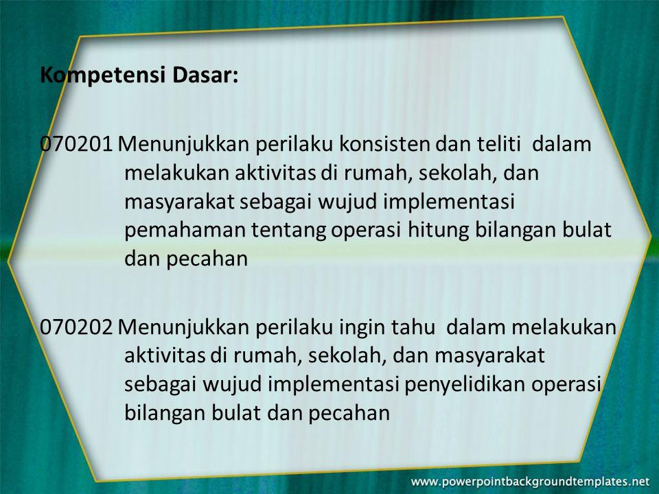 Kompetensi Dasar: 070201 Menunjukkan perilaku konsisten dan teliti dalam melakukan aktivitas di rumah, sekolah, dan masyarakat sebagai wujud implement