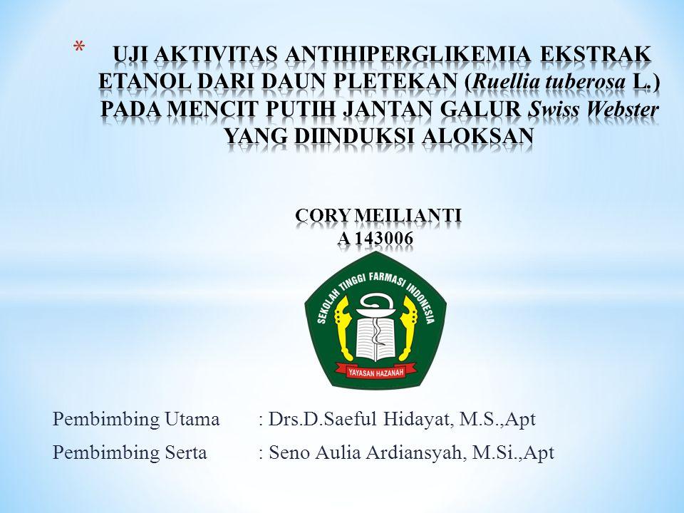 Pembimbing Utama : Drs.D.Saeful Hidayat, M.S.,Apt Pembimbing Serta: Seno Aulia Ardiansyah, M.Si.,Apt