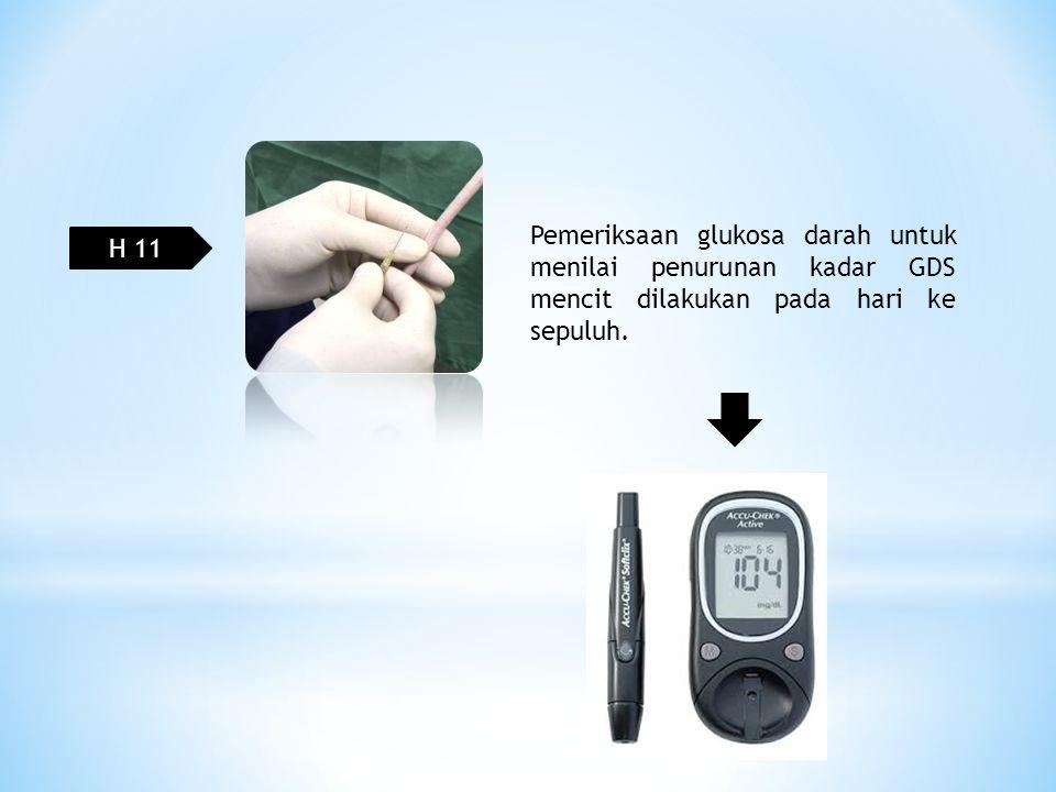 H 11 Pemeriksaan glukosa darah untuk menilai penurunan kadar GDS mencit dilakukan pada hari ke sepuluh.