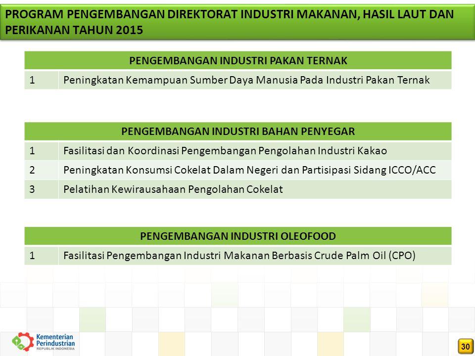 30 PROGRAM PENGEMBANGAN DIREKTORAT INDUSTRI MAKANAN, HASIL LAUT DAN PERIKANAN TAHUN 2015 PENGEMBANGAN INDUSTRI PAKAN TERNAK 1Peningkatan Kemampuan Sumber Daya Manusia Pada Industri Pakan Ternak PENGEMBANGAN INDUSTRI BAHAN PENYEGAR 1Fasilitasi dan Koordinasi Pengembangan Pengolahan Industri Kakao 2Peningkatan Konsumsi Cokelat Dalam Negeri dan Partisipasi Sidang ICCO/ACC 3Pelatihan Kewirausahaan Pengolahan Cokelat PENGEMBANGAN INDUSTRI OLEOFOOD 1Fasilitasi Pengembangan Industri Makanan Berbasis Crude Palm Oil (CPO)