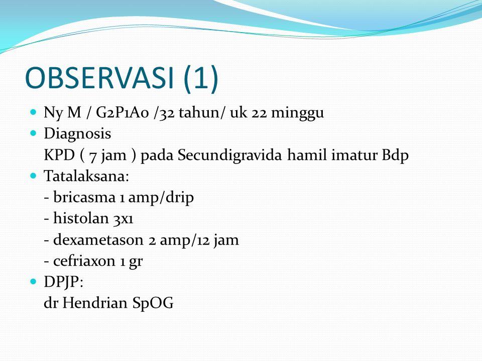 OBSERVASI (1) Ny M / G2P1A0 /32 tahun/ uk 22 minggu Diagnosis KPD ( 7 jam ) pada Secundigravida hamil imatur Bdp Tatalaksana: - bricasma 1 amp/drip - histolan 3x1 - dexametason 2 amp/12 jam - cefriaxon 1 gr DPJP: dr Hendrian SpOG